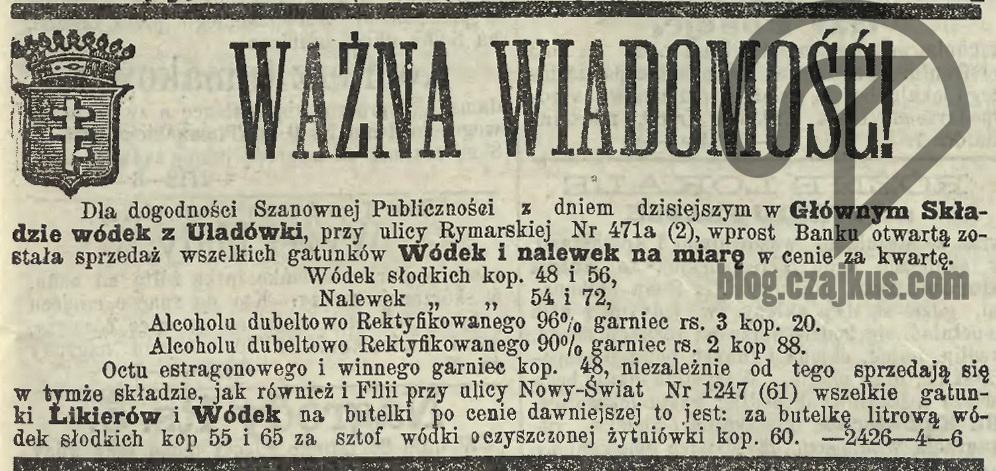 1875 Uładówka otwarcie