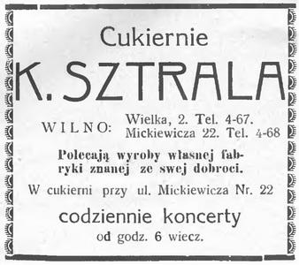 1933 K. Sztrala cukiernia Wilno