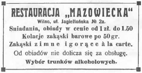 1933 Mazowiecka Restauracja Wilno