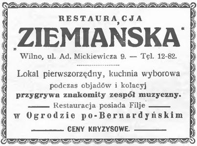 1933 Restauracja Ziemiańska Wilno