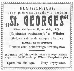 1933 St. Georges Restauracja Wilno