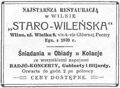 1933 Staro-wileńska Restauracja Wilno