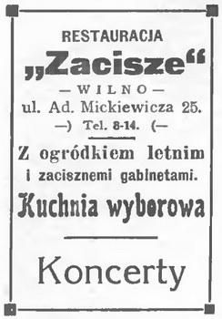 1933 Zacisze Restauracja Wilno