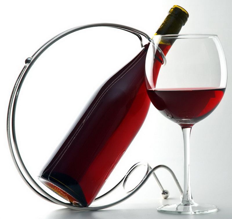 Red Wine Glass N Bottle In Stand