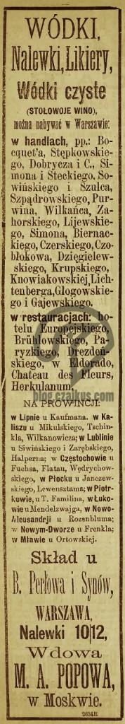 1885 - Popov vodka, wódka