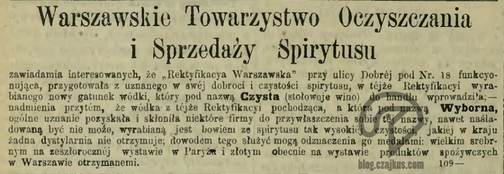 1890 Rektyfikacja stołowoje winoW