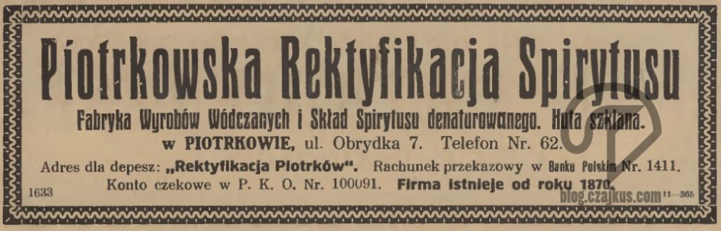 Piotrkowska Rektyfikacja Spirytusu, Piotrków - Reklama 1925 W