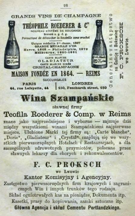 Roederer, Lwów - Reklama 1883