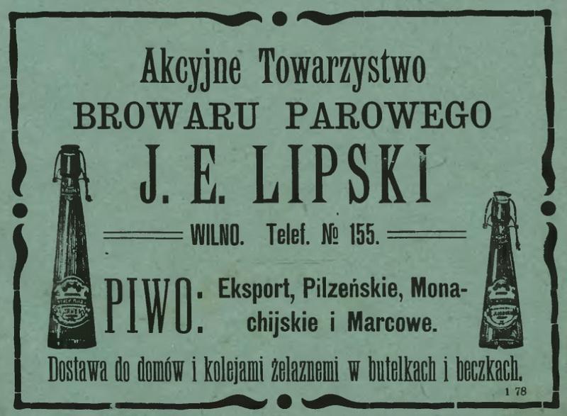 1909 Browar Lipskiego, Wilno