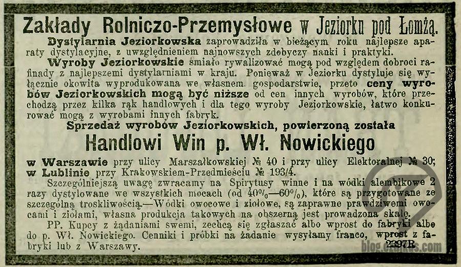 1884 - Reklama JeziorkoW
