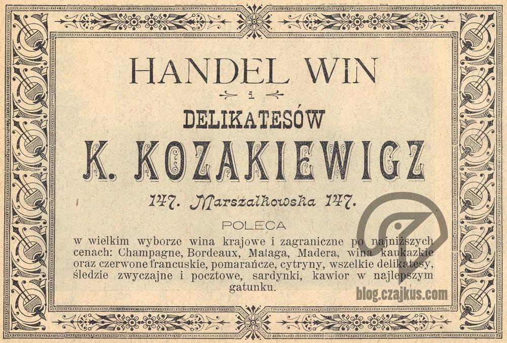 1897 Skład Win Kozakiewicz