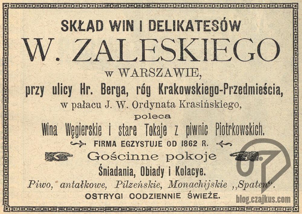 1897 Skład Win Zaleski