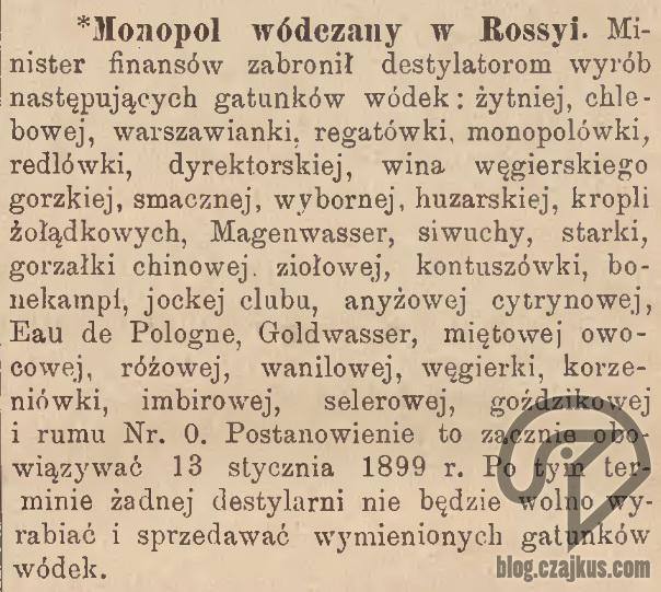 1898 zakaz produkcji wódekW