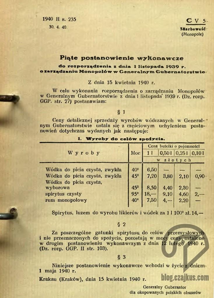 1940 Roporządzenie GG WyborowaW
