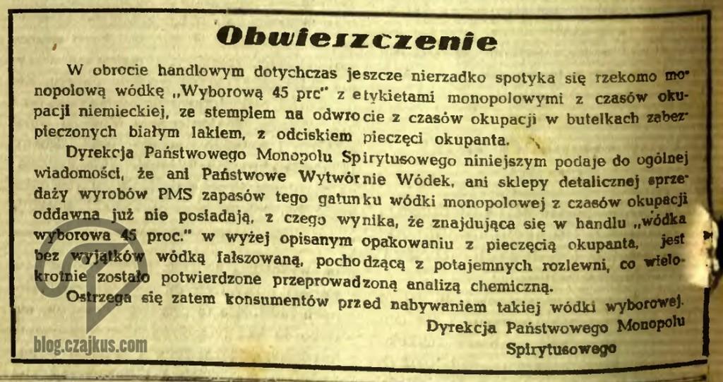 1945 - Wyborowa GG W