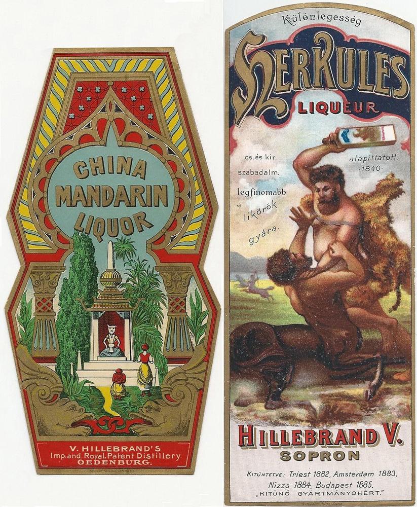 Hillebrand Vincenz, Sopron - 1880s Szerkules 19x7 i1890's China Mandarin 15x7