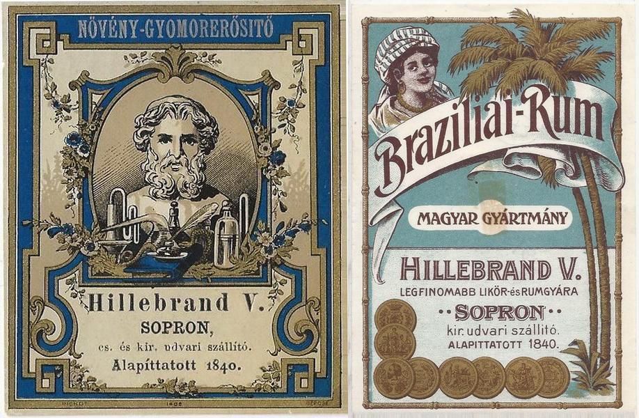 Hillebrand Vincenz, Sopron - 1890s Brazil Rum 14x10 i1880's Liqueur 8x7