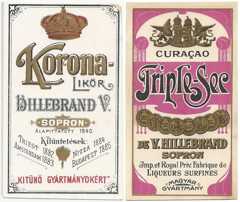 Hillebrand Vincenz, Sopron - 1890s Korona iTriple Sec
