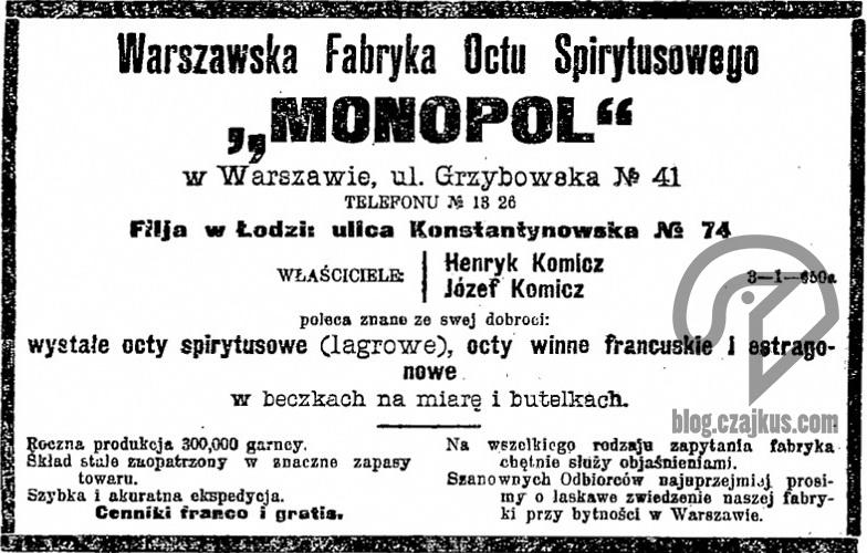 Monopol Ocet, Warszawa - 1908W
