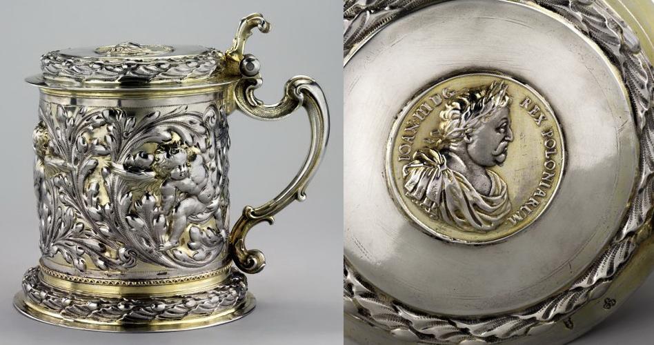 Kufel zmedalem Jana III Sobieskiego