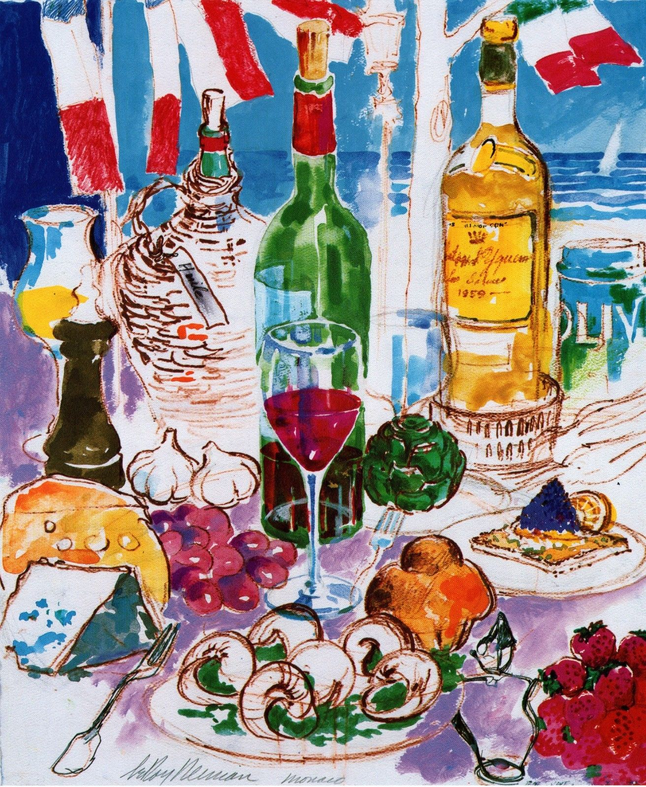 Leroy Neiman BOOK PRINT MONACO ''MEDITERRANEAN STILL LIFE'' WINE FRUIT CHEESE
