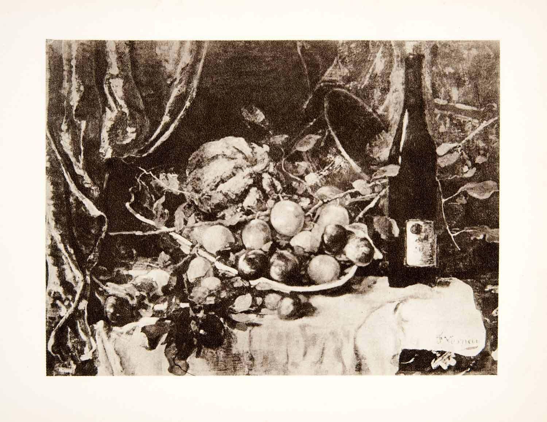 1931 Photogravure Still Life Wine Scene Fruit Basket Artistic Francois XAT8