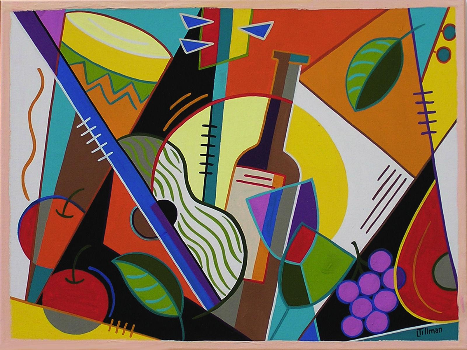 Obraz wino2 połowa stulecia, kubizm Gitara, Wino, Owoce