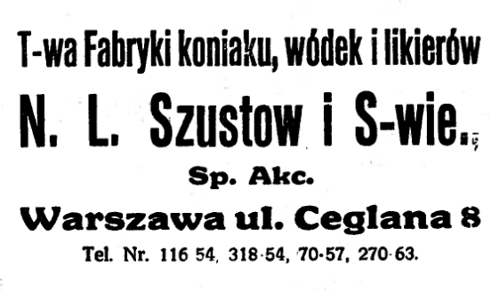 Szustow N. L. iS-wie, Warszawa - Reklama, 1926