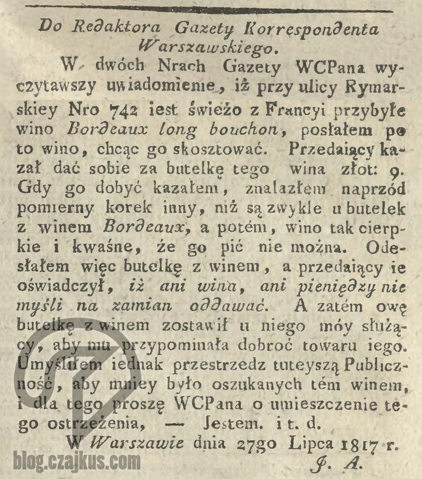 1817 Wino Ostrzeżenie W