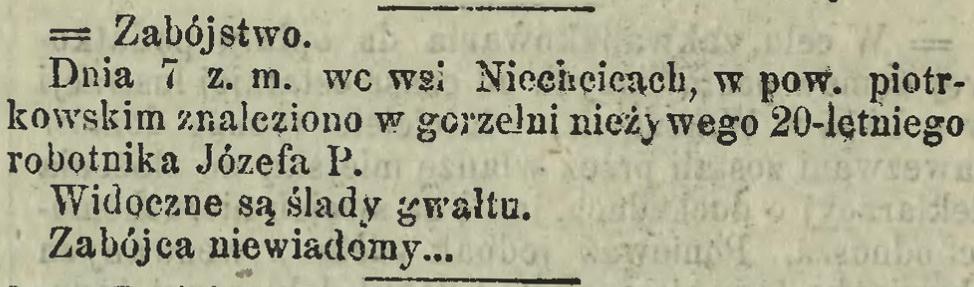 1881 - Niechcice zabójstwo