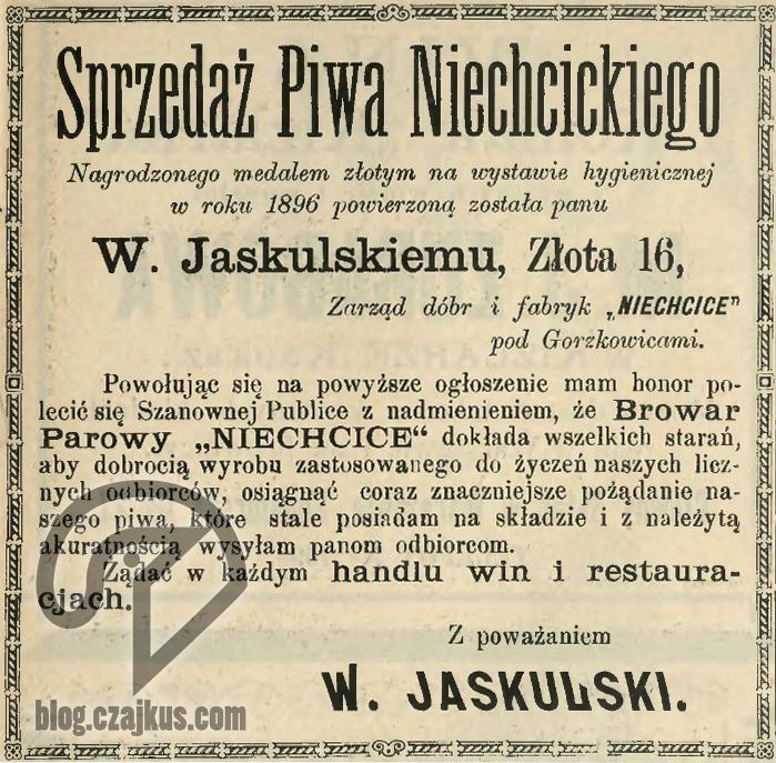 1897 Reklama Piwo Niechcickie W