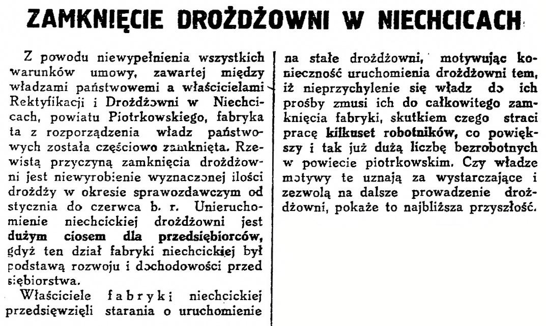 1929 Niechcice zamknięcie drożdżowni