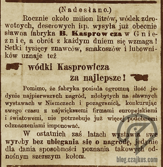 Kasprowicz Bolesław, Gniezno - 1900 W