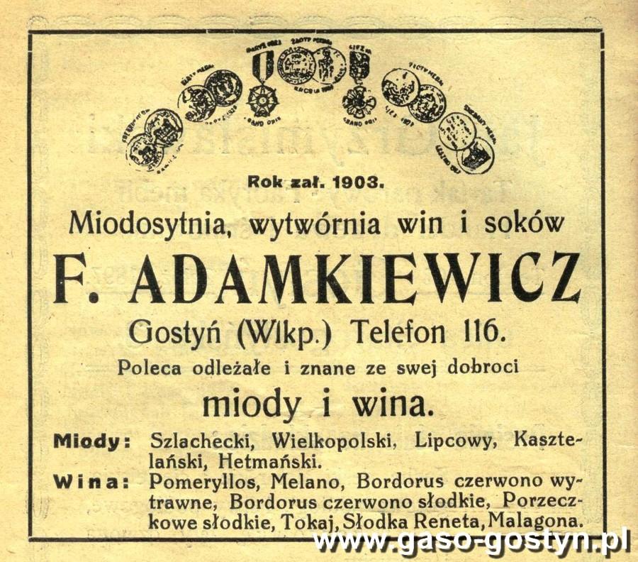 1936r. - F. Adamkiewicz (miodosytnia, wytwornia win isokow - 1936r.)