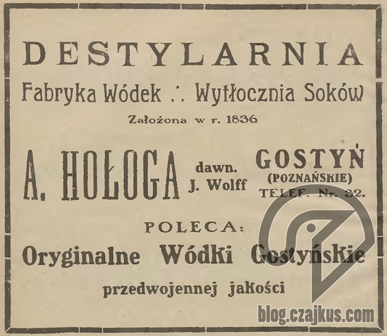 Hołoga A., Gostyń - 1922r.