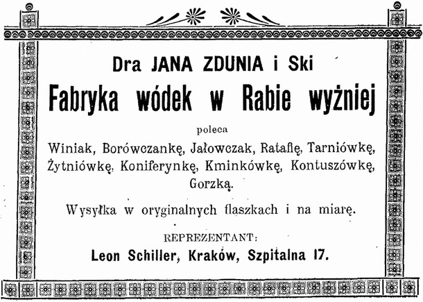 1901 Fabryka Wódek Zdrowotnych Zduń Jan dr, Raba Wyżna 610