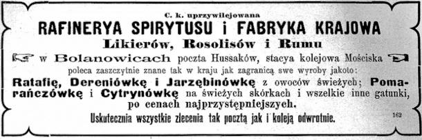Drohojowski K. hr., Bolanowice - Reklama 1895 Rektyfikacja, Fabryka Wódek