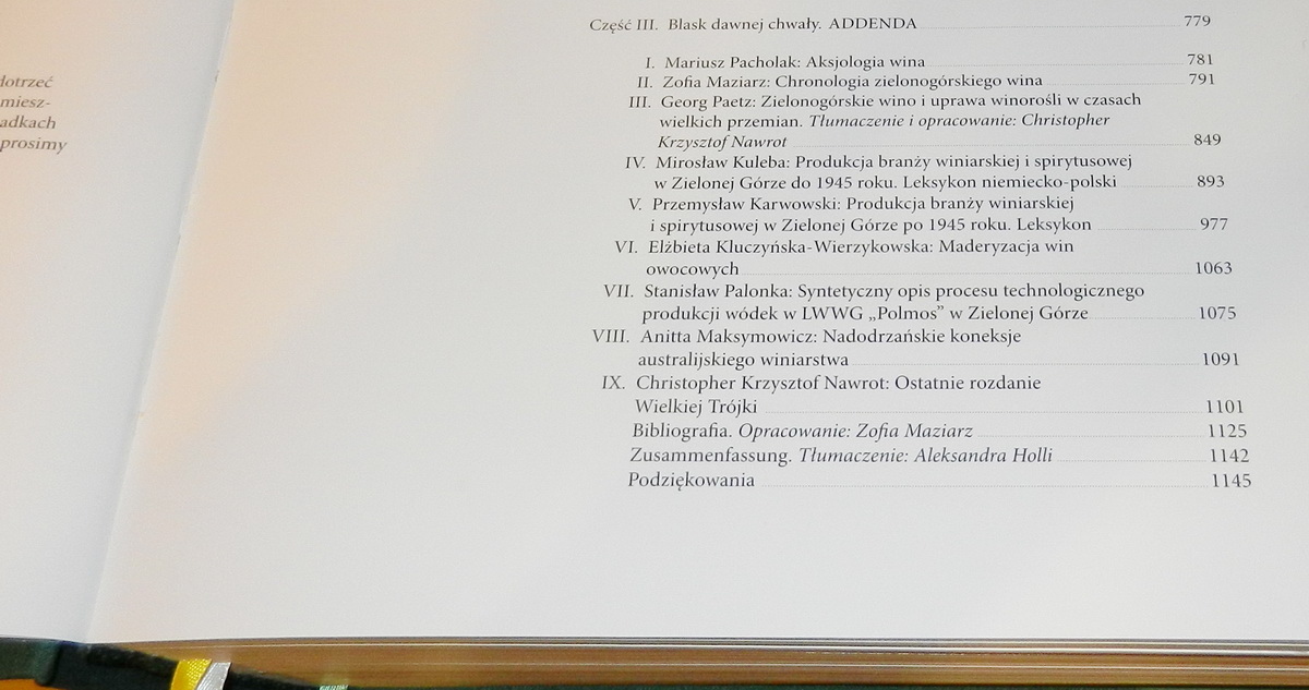 Enographia Spis