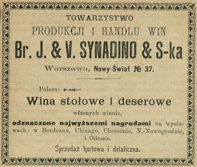 1900 J. & V. Synadino Wina Nowy Świat Warszawa