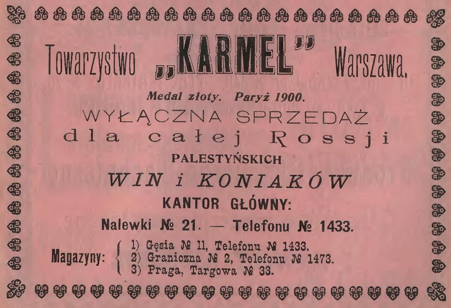 1905 Tow. Karmel, Warszawa