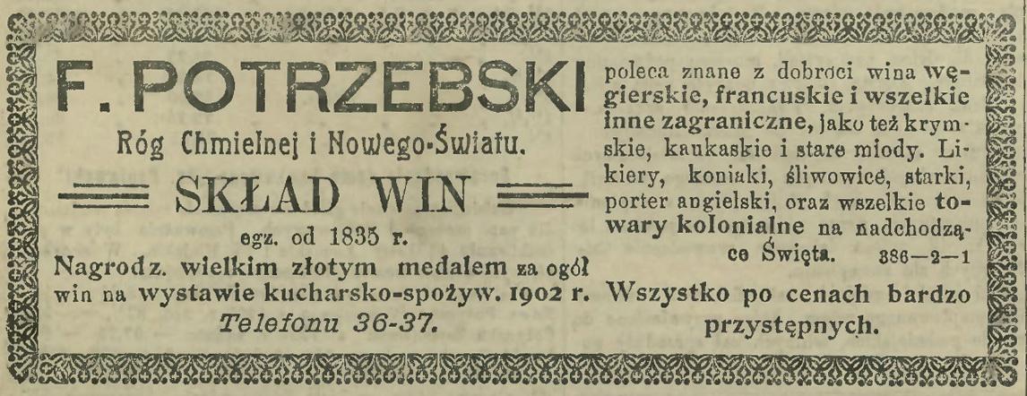 1909 F. Potrzebski, Skład Win, Warszawa