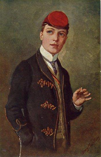 Georg Mühlberg ''Im ersten Semester'' (rok 1900) (niem. pierwszy semestr). Student wtradycyjnym stroju korporacji